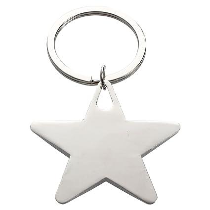 TOOGOO(R) Llavero pendiente en forma de estrella con cinco puntas Tono de plata