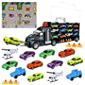 iBaseToy Toy Cars, Transport Car Carrier Truck Educational Vehicles Toy Car Set for Toddlers, Kids, Boys and Girls (Includes 8 Sports Car, 2 Off-Road Cars, 2 Helicopters, 2 Roadblocks and 1 Town Map)