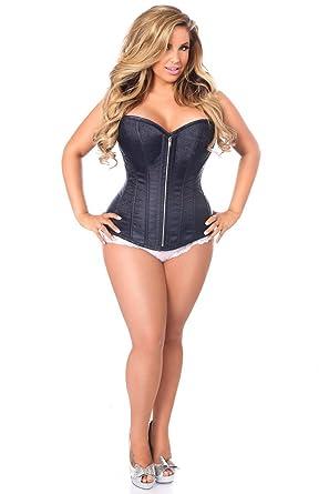 8c31898053e Daisy corsets Top Drawer Navy Blue Brocade Steel Boned Corset   Amazon.co.uk  Clothing