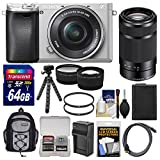 Sony Alpha A6300 4K Wi-Fi Digital Camera & 16-50mm (Silver) with 55-210mm Lens + 64GB Card + Case + Battery & Charger + Flex Tripod + Filters + Kit
