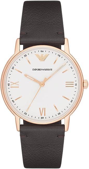 Ecología Unión bruscamente  Amazon.com: Emporio Armani Men's Kappa Stainless Steel Analog-Quartz Watch  with Leather Calfskin Strap, Brown, 22 (Model: AR11011): Emporio Armani:  Watches
