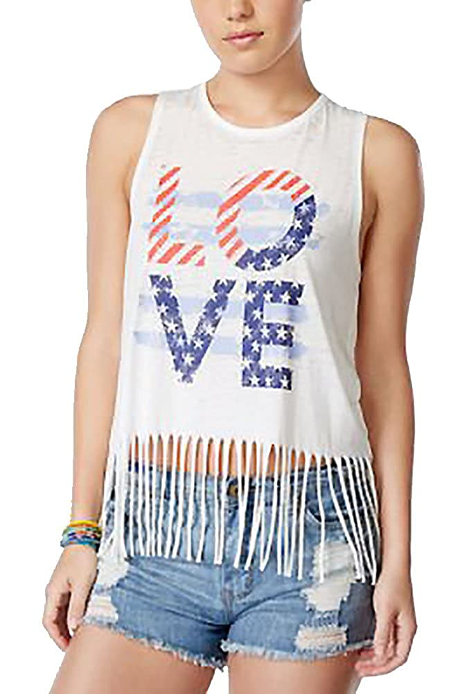 Women's Almost Famous Tank Top Love With Rhinestones Fringe Bottom
