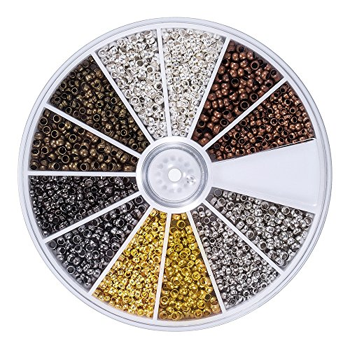 Genenic 2160 Pieces 6 Colors Tube Crimp Beads 2 mm 2.5 mm Mixed Jewelry Bracelet Making End Spacer Beads