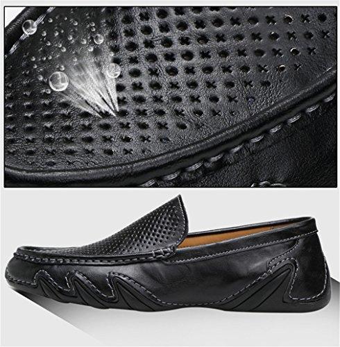 de hacia Bridfa de fuera cuero para de respirables Ahueca casuales hombres Black de conducción zapatos Slip Spring los Zapatos genuino Moccasins hombres Mocasines verano On los FF5wrq7
