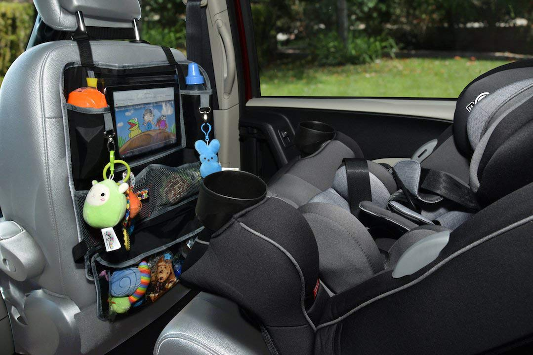 J is for Jeep Deluxe Backseat Organizer /& Protector with Touch Screen Enabled Tablet Holder and Removable Travel Pouch