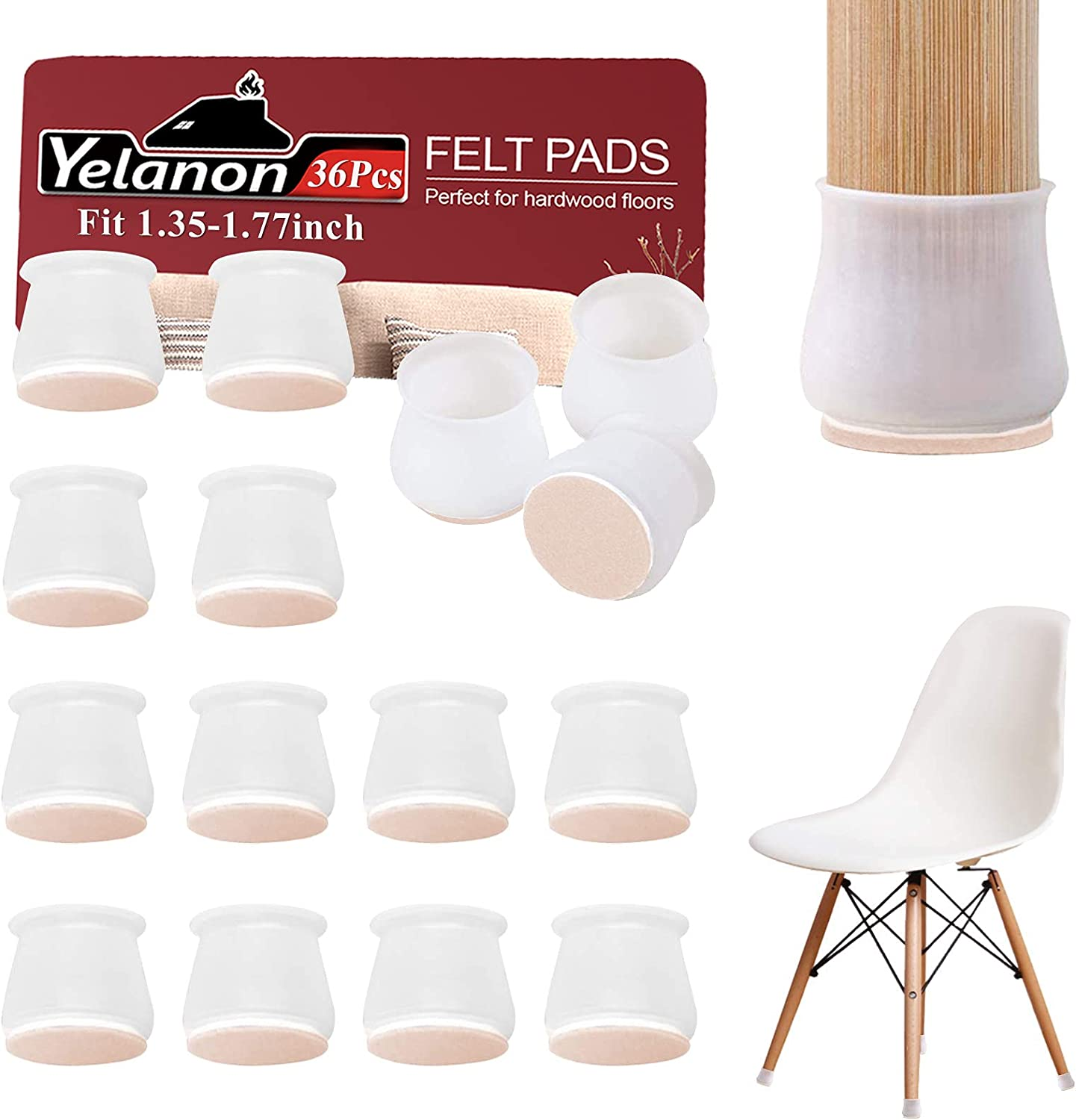 Yelanon Furniture Silicon Protection Covers 36 Pcs - Upgraded Chair Leg Floor Protectors - Chair Leg Caps with Felt Pad Anti Scratch Floor Protector for Furniture Table Feet, Protect Hardwood Floor