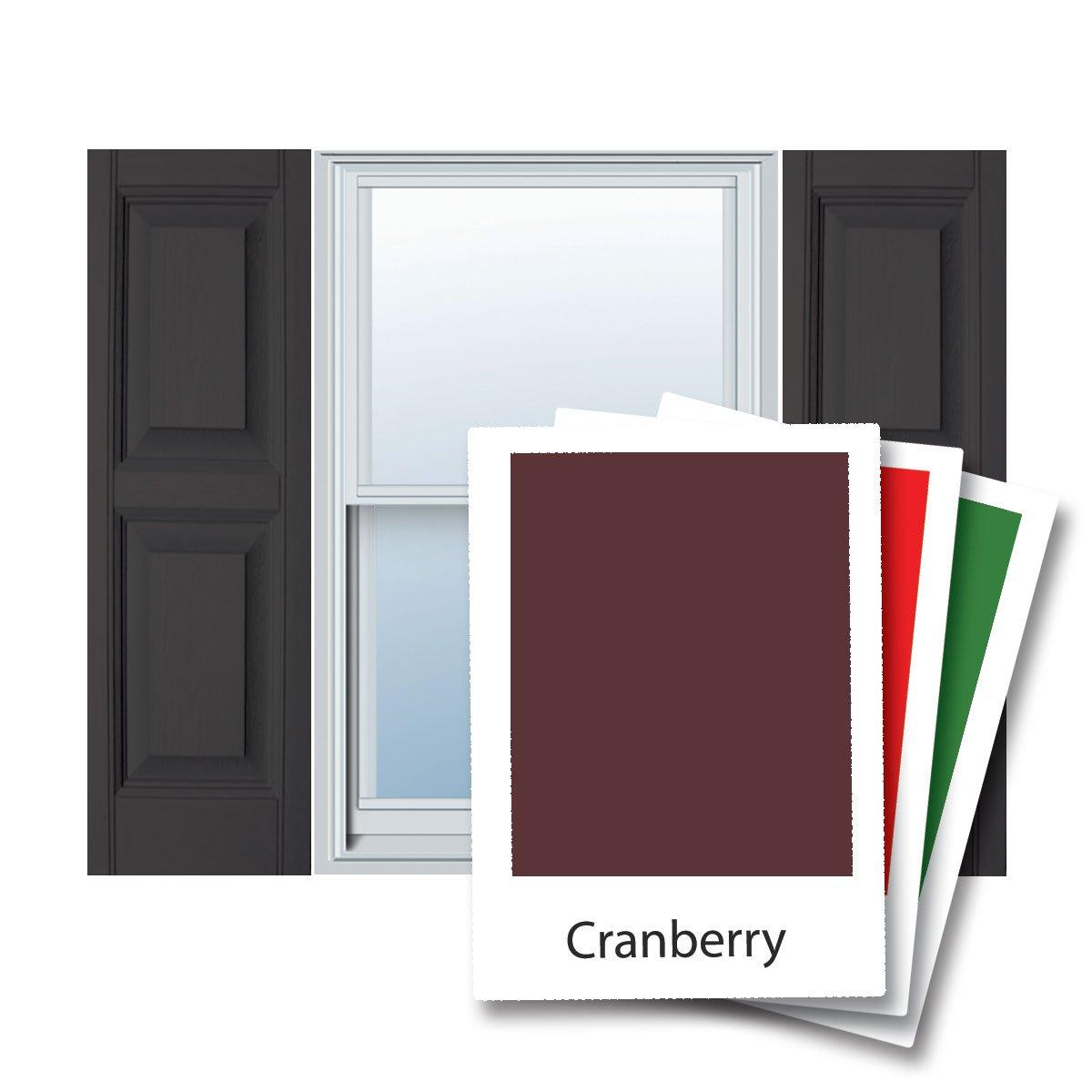 12'' x 67'' Builders Choice Vinyl Raised Panel Window Shutters, w/Shutter Spikes & Screws (Per Pair), Cranberry