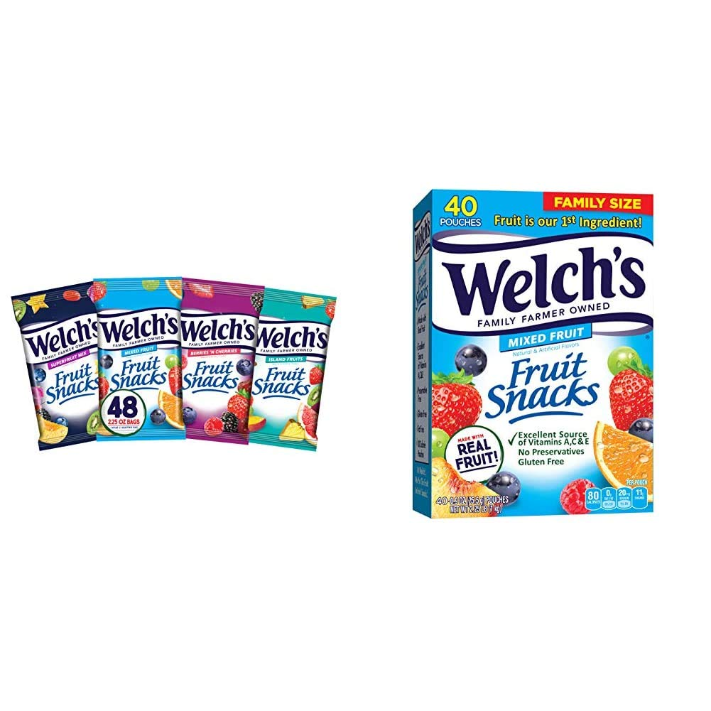 Welch's Fruit Snacks, Bulk Variety Pack with Mixed Fruit, Superfruit Mix, Island Fruits & Berries 'n Cherries, 2.25 oz (Pack of 48) & Fruit Snacks, 0.9 oz Individual Single Serve Bags (Pack of 40)