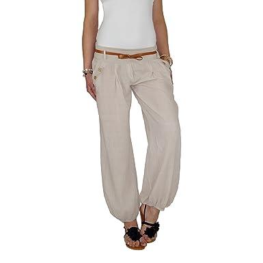 68263e8a20 Dresscode-Berlin DB Damen Sommerhose mit Stoffgürtel (One Size, Beige)