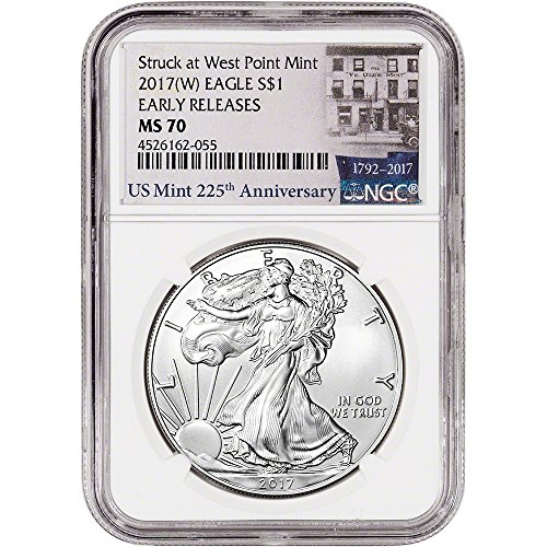 2017 (W) American Silver Eagle (1 oz) Early Releases 225th Anniversary Label $1 MS70 NGC