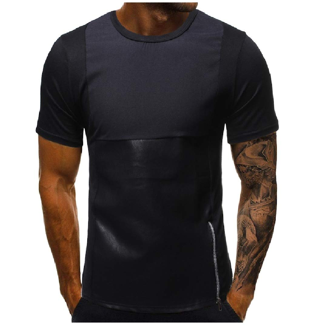 Abetteric Mens Short Sleeve Zipper PU Splice Silm Fit Crewneck T-Shirt Top