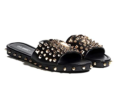 4dea941d4cd Cape Robbin Tonie Black The Ultimate Edgy Slides Flat Sandal Gold Studded  Mule