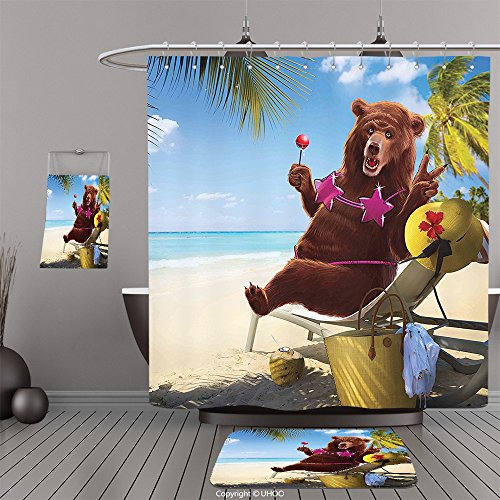 Uhoo Bathroom Suits & Shower Curtains Floor Mats And Bath TowelsAnimal Decor Happy Fancy Wild Hot Sexy Bear with Bikini Top on the Beach Sunbathing Artwork MultiFor - Australia Bikinis Training