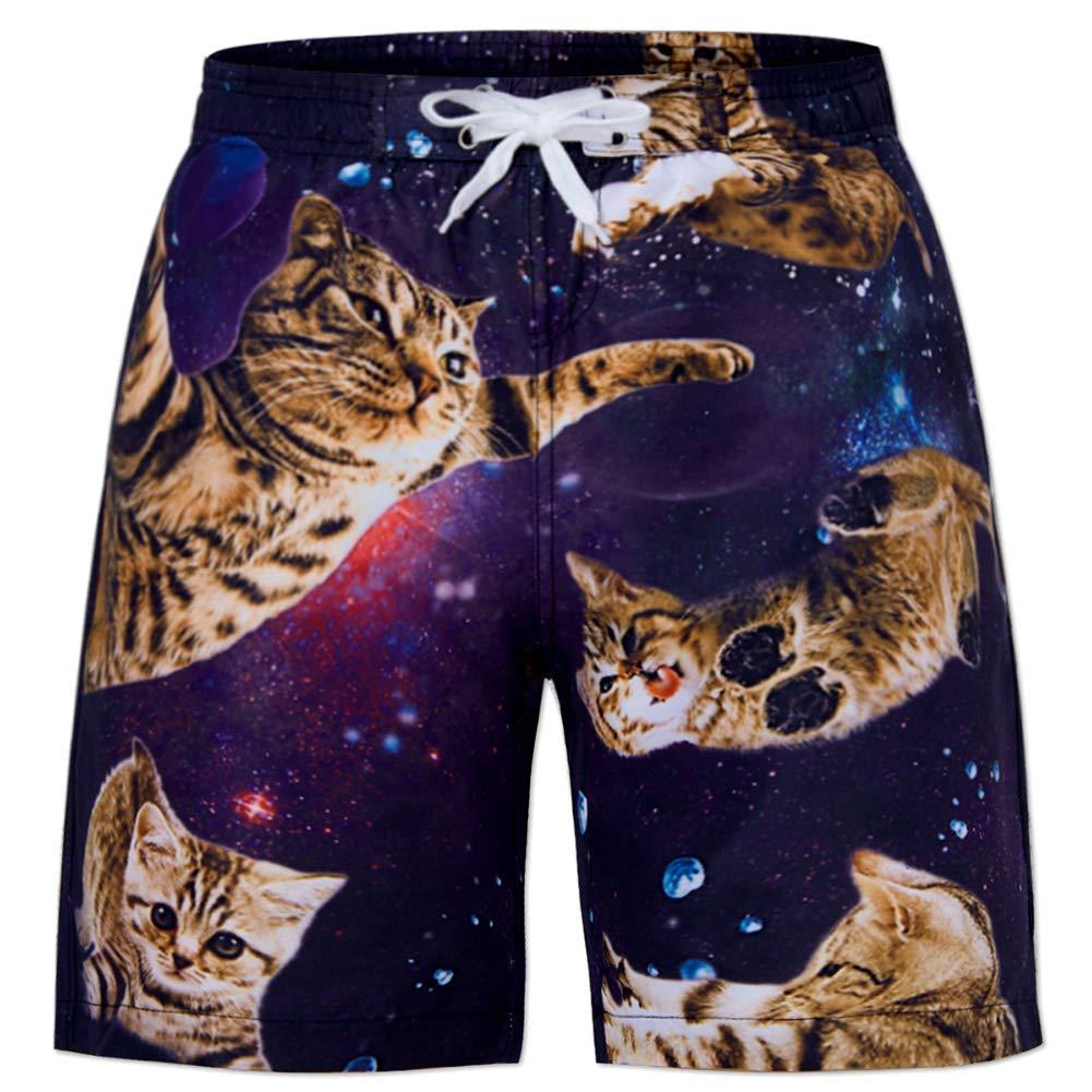 Kid Fat cat Pattern Swim Trunks Running Training Quick Dry Boardshorts