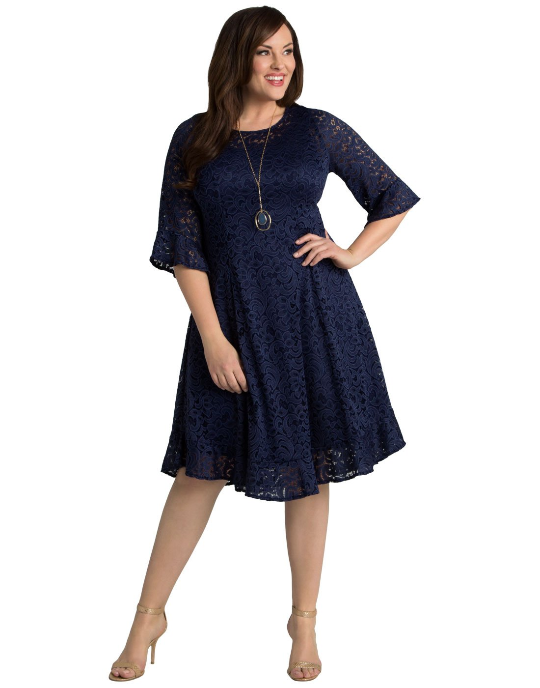 Kiyonna Women\'s Plus Size Livi Lace Dress 1X Nouveau Navy