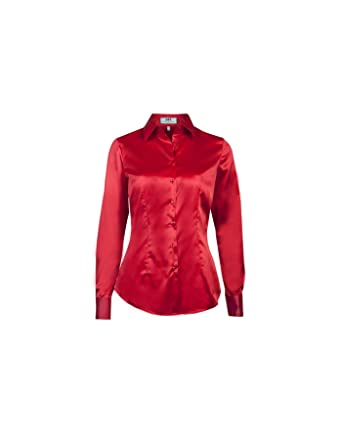 f6c7a18ba4 HAWES & CURTIS Womens Red Fitted Satin Shirt - Double Cuff, Red, 14 ...