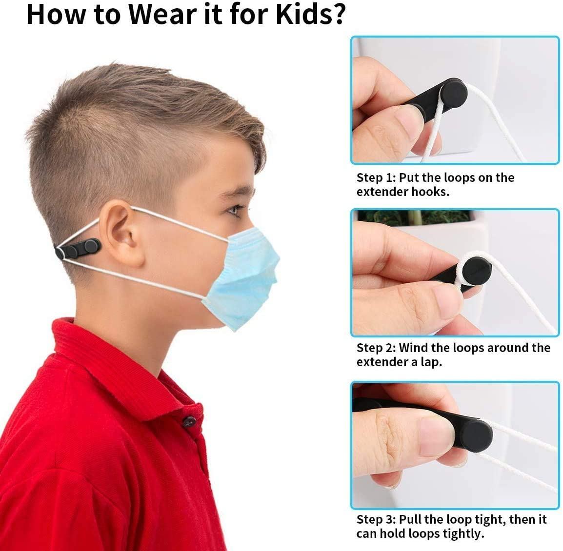 Elastic Ear Strap Hook Holder for Kids /& Adults Relieve Ear Pain Anti-Tightening Soft Ear Saver Protector Silicone Mask Strap Extender with Buttons Black 10pcs Adjustable Anti-Slip Mask Extender