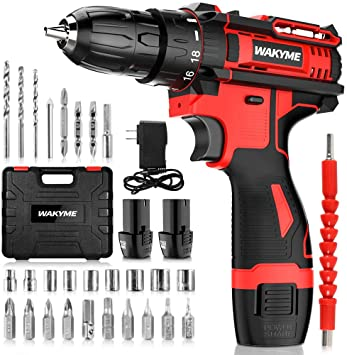 Amazon Com Cordless Drill Driver Kit With 2 Batteries Wakyme 12 6v Power Drill 30nm 18 3 Clutch 3 8 Keyless Chuck Variable Speed Built In Led Electric Screw Driver For Drilling Wall Bricks Wood Metal