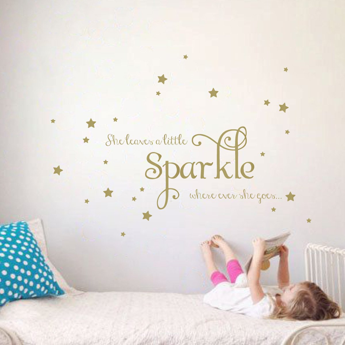 0a7978457291 Amazon.com  She Leaves a Little Sparkle Girls Room Vinyl Wall Decal Sticker  Inspirational Quote with Stars (Gold