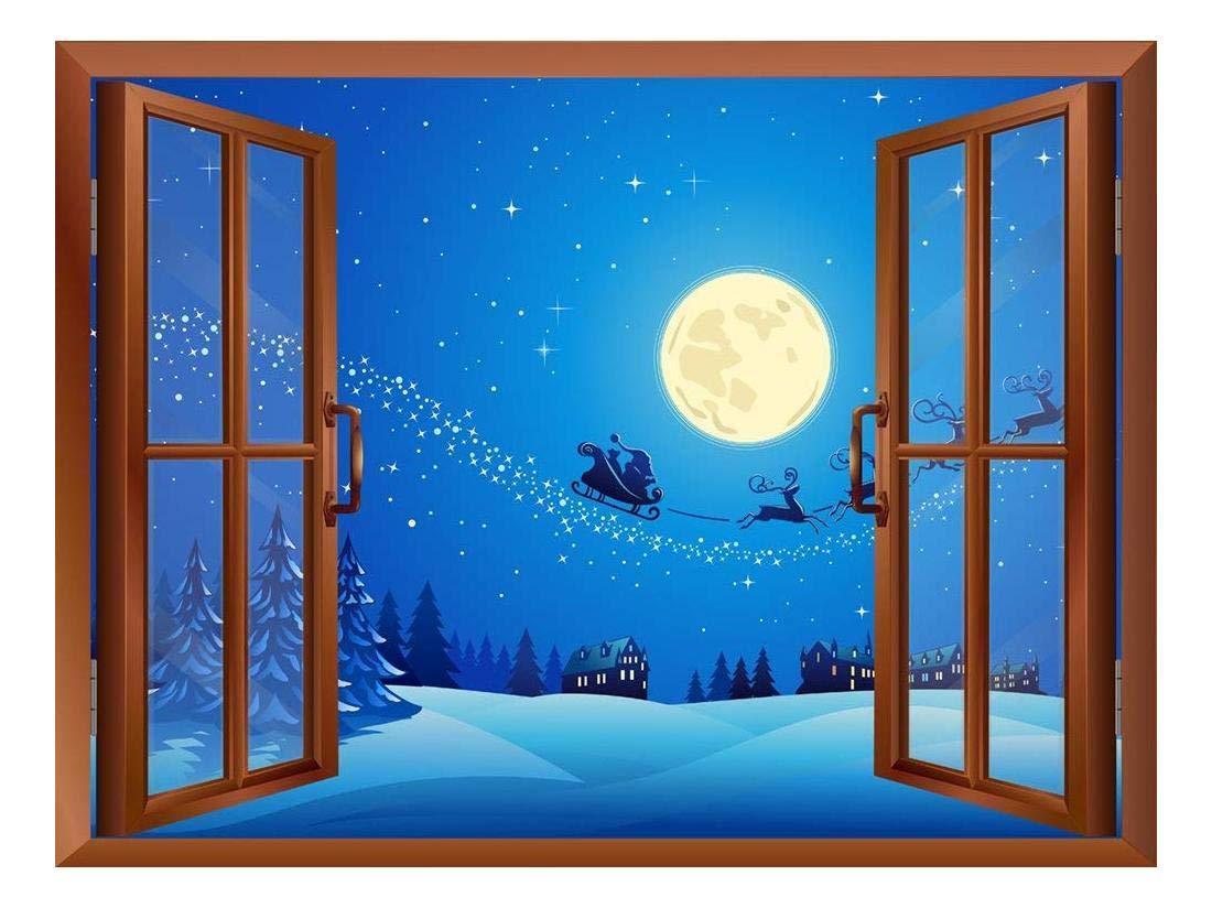 Cartoon Santa Claus And Reindeers At Full Moon Night Peel