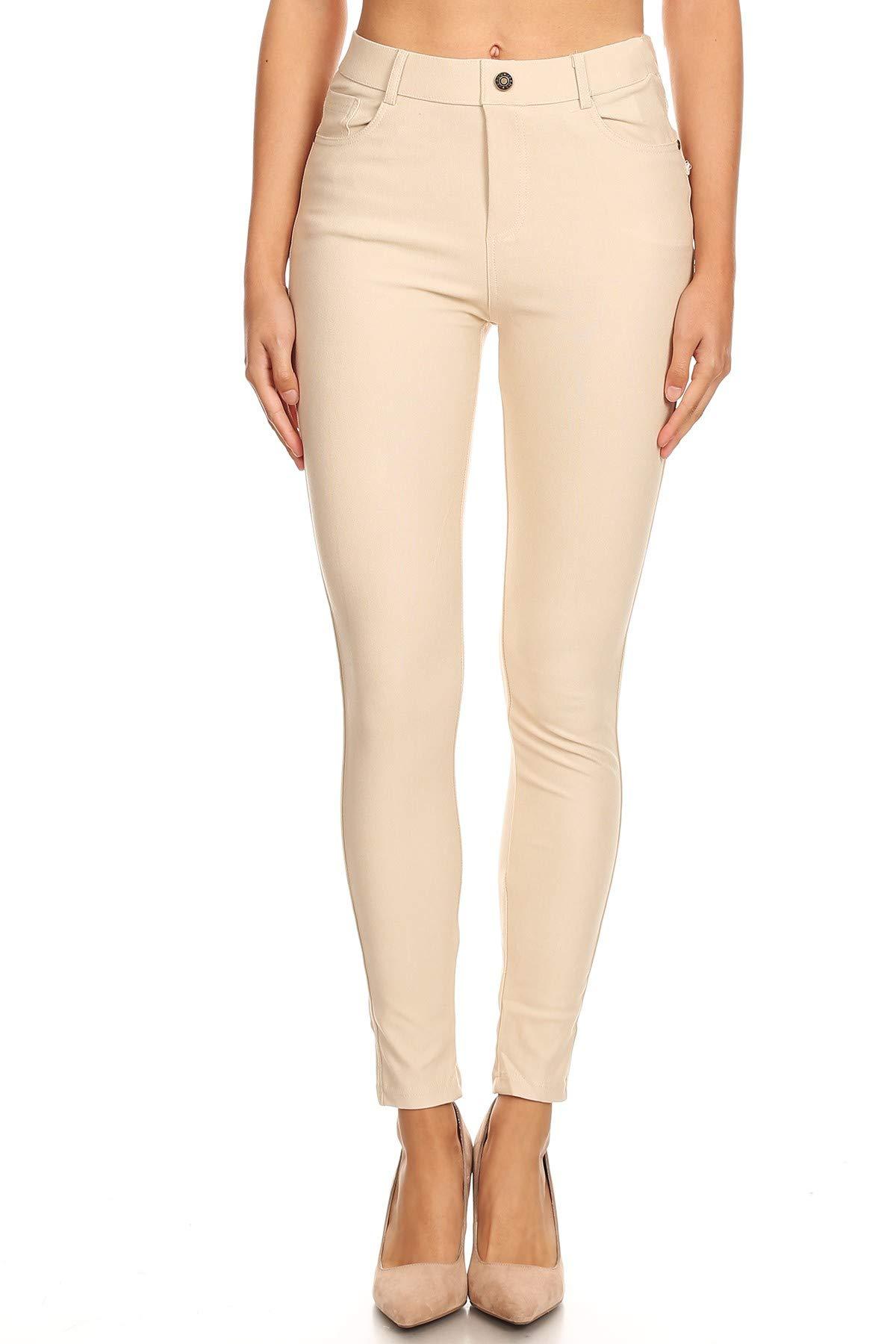 Jvini Women's Ultra Soft Pull-On Skinny Knit Denim Jean Leggings Khaki M