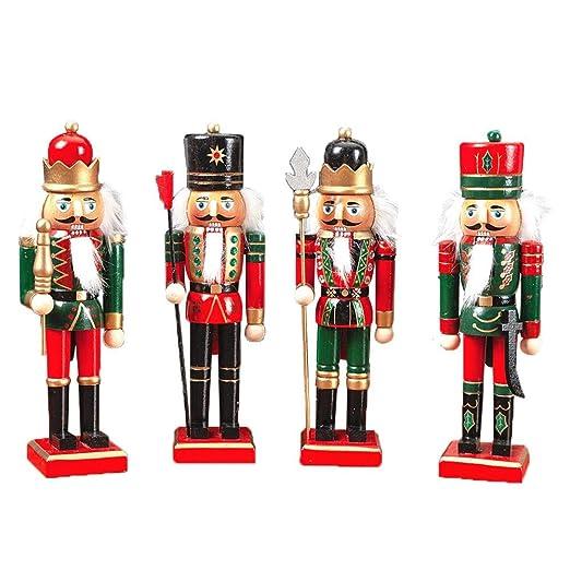 lingzhuo-shop Cascanueces de Navidad Mu/ñeco Adornos Navide/ños Soldado Cascanueces Madera 30CM Set Marioneta Pintada Hecho A Mano