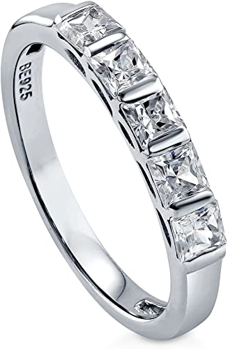 TVS-JEWELS Black Cubic Zirconia Stone White Platinum Plated Sterling Silver Wedding Anniversary Ring