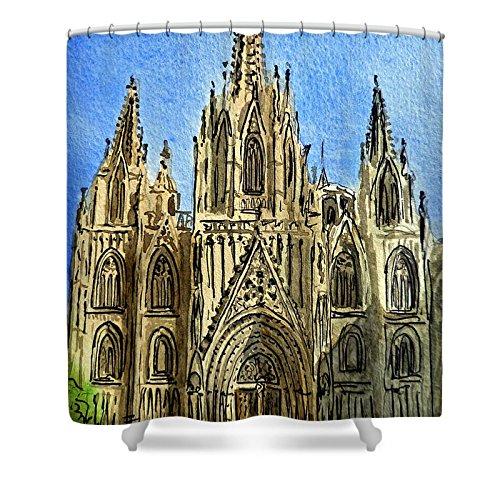 Pixels Shower Curtain (74'' x 71'') ''Barcelona Spain'' by Pixels