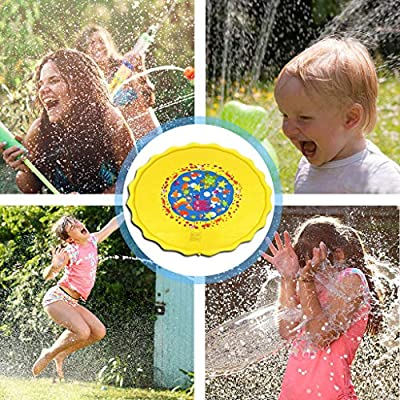 NEW????Games for Children,Outdoor Activities for Kids,Outdoor Rug ,Splash Pad, Sprinkler for Kids, Wading Pool for Learning, Trampoline Sprinkler, Inflatable Large Outdoor Pool for Babies (Yellow, 1.3M): Toys & Games