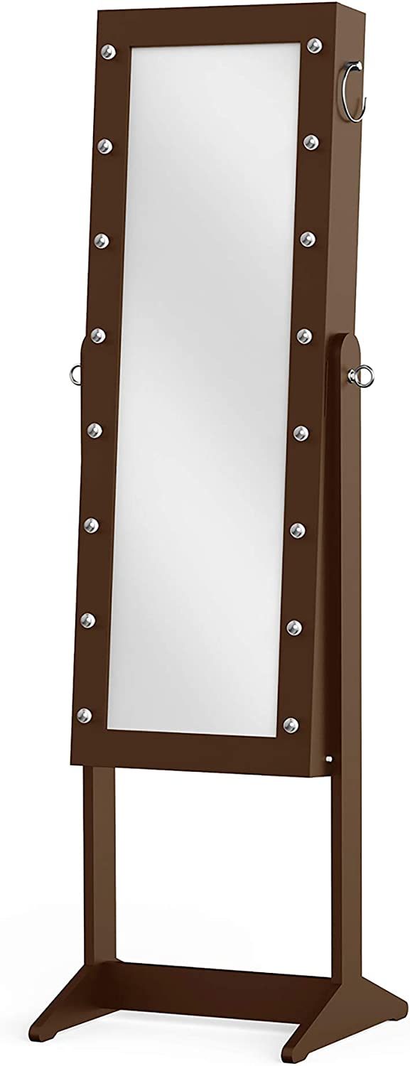 Haven Home Decor Expresso Jewelry Organizer Cabinet Armoire, with Full Length Mirror, 16 LED Lights, Brown