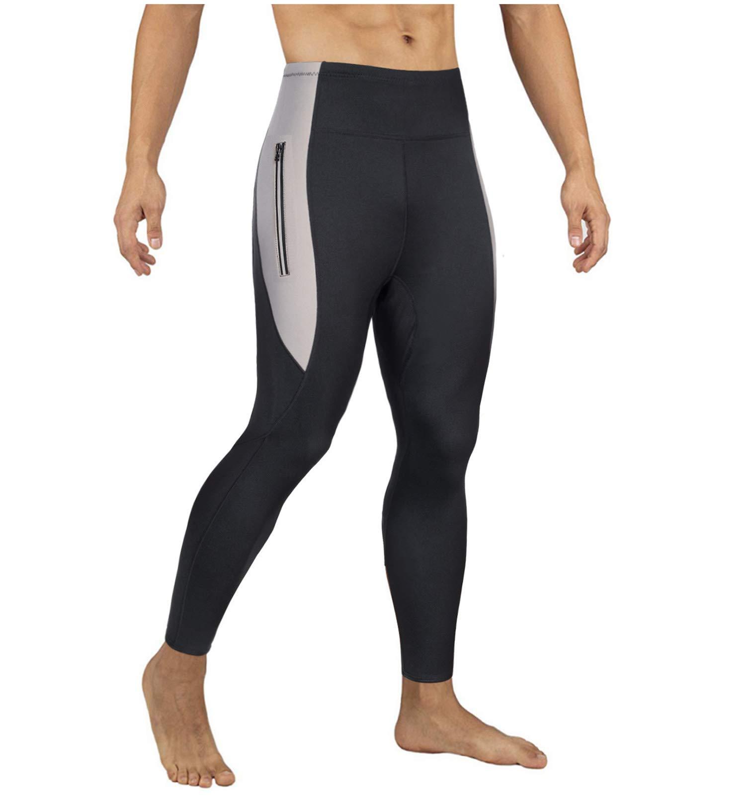 Mens Hot Slimming Sauna Pants for Weight Loss Neoprene Body Shapers Sweat Workout Capri Leggings Black