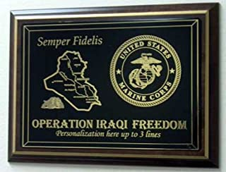 product image for All American Gifts Operation Iraqi Freedom Plaque with Laser Engraved Iraq Map, Military Emblem, and 3 Lines of Personalized Text (O.I.F. / USAF Emblem)
