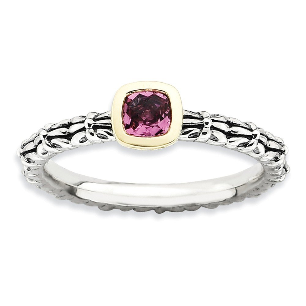 Top 10 Jewelry Gift Sterling Silver & 14k Stackable Expressions Checker-cut P. Tourmaline Ring by Jewelry Brothers Rings (Image #1)
