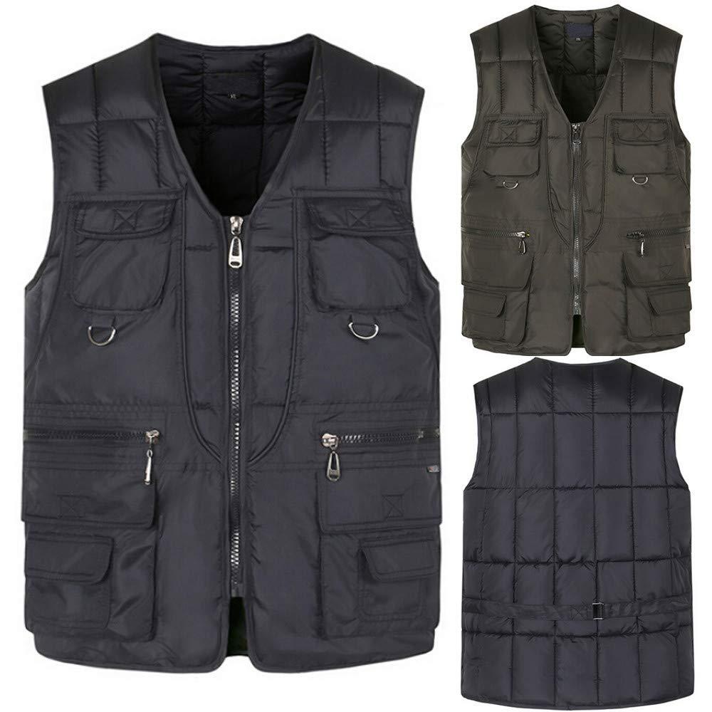 PASATO Men Autumn Winter Fashion Multi Pocket Pure Color Waistcoat Vest Jacket Top Coat