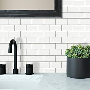 Vamos Tile Peel and Stick Subway Backsplash, Self-Adhesive Decorative Tiles for Kitchen&Bathroom in White(Pack of 1, Thicker)