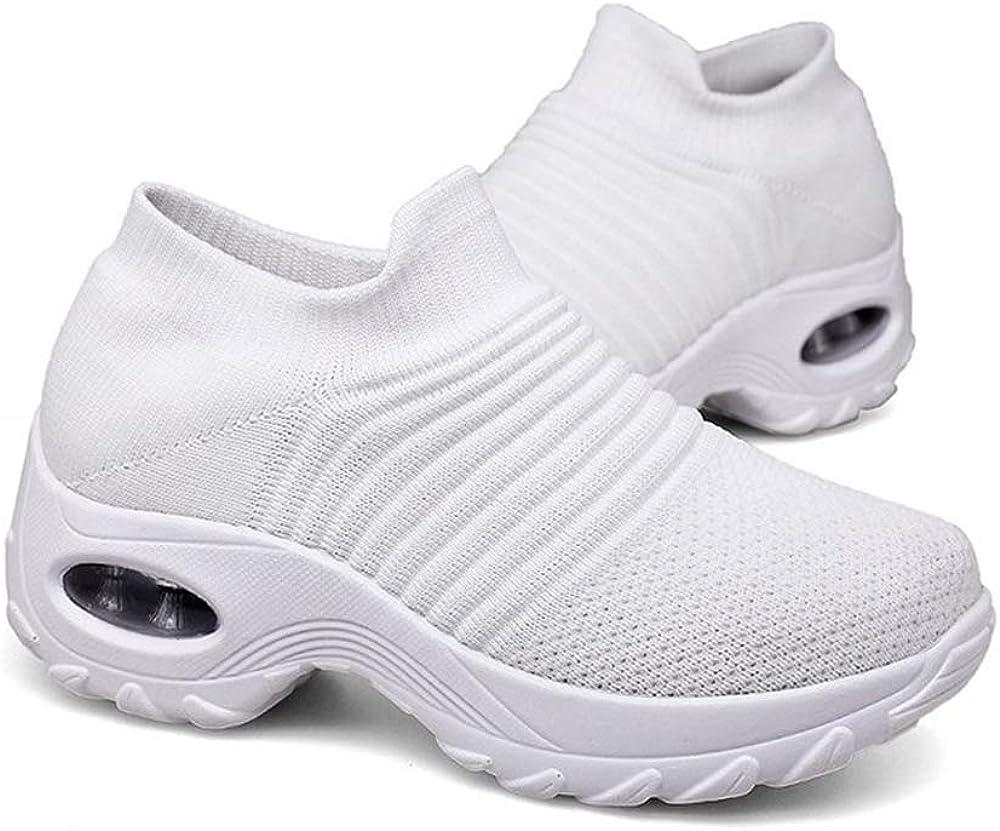 DUOYANGJIASHA Womens Comfortable Walking Breathable Mesh Slip On Air Cushion Tennis Sock Sneakers Casual Running Shoes Wedge Platform Workout