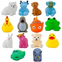 JAY ANTIQUES oddler Baby Bathing Chu Chu Squeeze Bath Toys Non-Toxic BPA Free, Animal Shape Non-Toxic Soft Chu Chu Animal Bath Toys, Multi Color Set of 12
