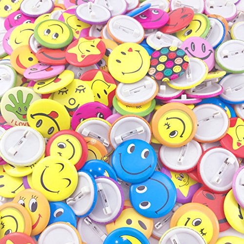 TKOnline Mini Smiley Smile Face Button Pins,1.2 Inch Size - 72 Pack]()