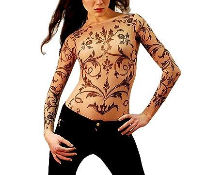 ba0637bd2 Wild Rose Ladies FILIGREE Tattoo Mesh Shirt, Tan at Amazon Women's ...