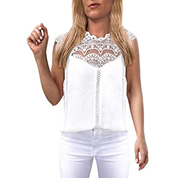 Chemisier Femme Dentelle Tunique Haut Femme Chic Manches Courte Tops Blouse Pull Col Rond Fleuri T Shirt en Mousseline de Soie (Blanc, XL)