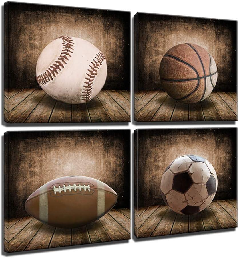 Amazon Com Rustic Soccer Football Baseball Basketball On Vintage Wood Grain Floor Fine Art Prints Sports Decor Soccer Nursery For Kids Boy Room Decoration Framed Vintage 12x12inchx4pcs 30x30cmx4pcs Posters Prints