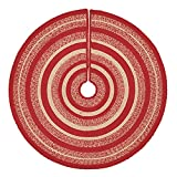 VHC Brands Christmas Holiday Decor - Cunningham Jute Red Tree Skirt