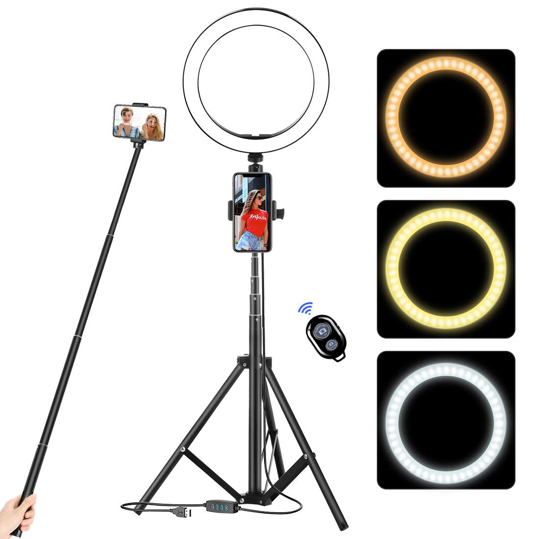 acetek 10.2'' Selfie Ring Light with Tripod Stand & Cellphone Holder, LED Camera Selfie Ring Light for Live Stream/Makeup/YouTube Video/Photography Compatible with iPhone and Android, Wireless Remote by acetek