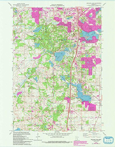 YellowMaps Orchard Lake MN topo map, 1:24000 Scale, 7.5 X 7.5 Minute, Historical, 1974, Updated 1993, 27.2 x 21.2 in - Polypropylene