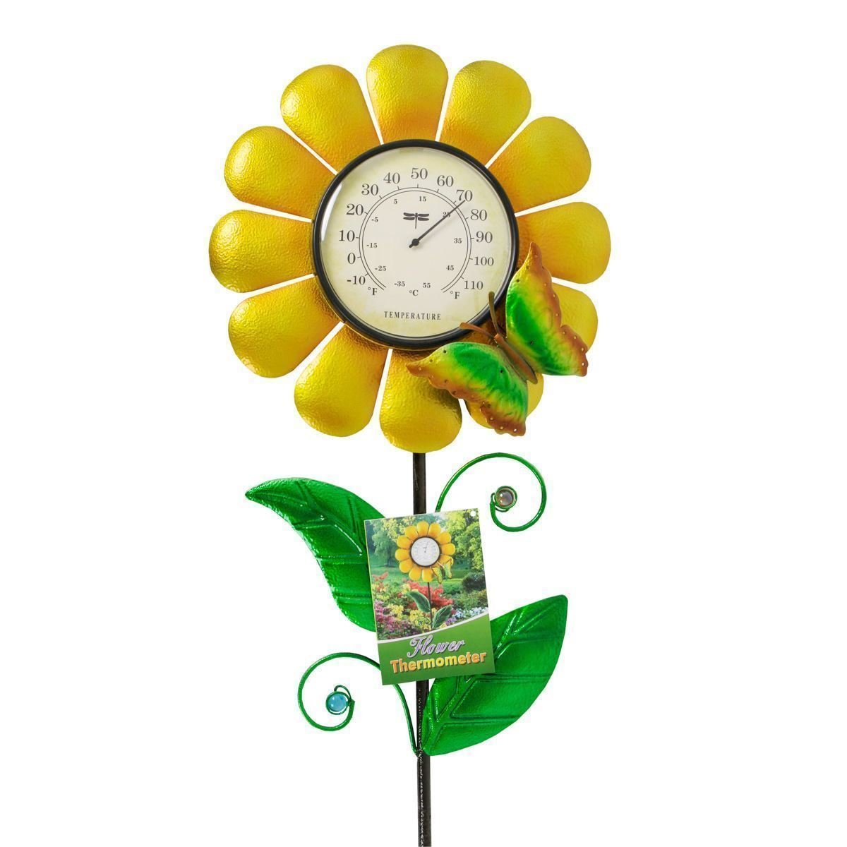 Whimsical Garden 74159 Sunflower Garden Thermometer, Mid Size, Yellow
