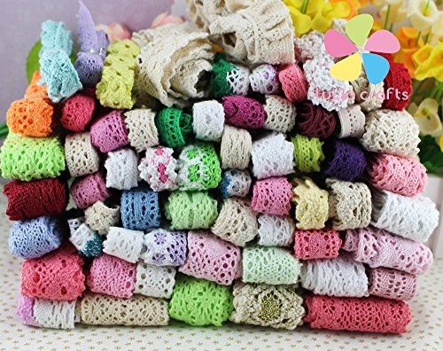 12 yards/lot 1y/pc Random Lace Trim Embellishment Flower Ribbon Sewing Craft (Mixed style 1)