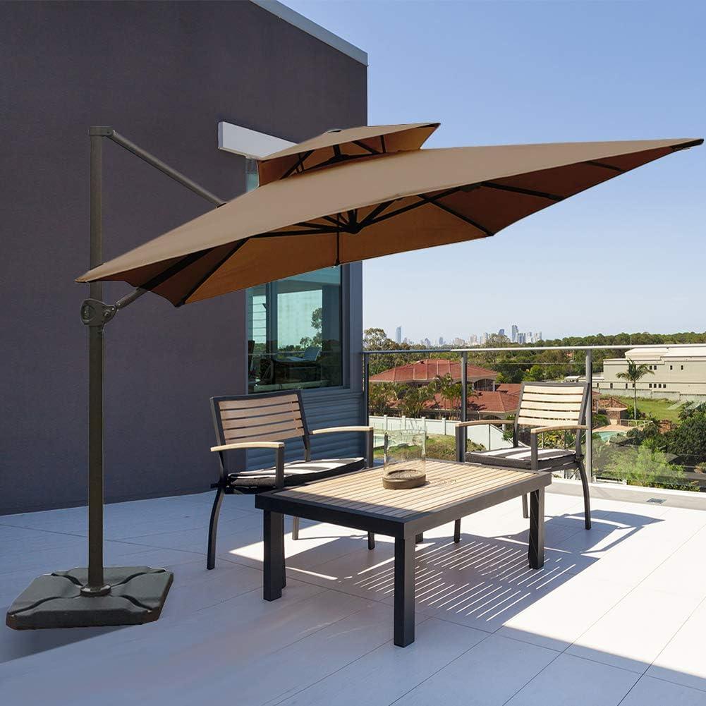 Abba Patio paraguas voladizo rectangular de 9 x 12 pies, doble ventilación de viento, para colgar en el patio con base cruzada: Amazon.es: Jardín