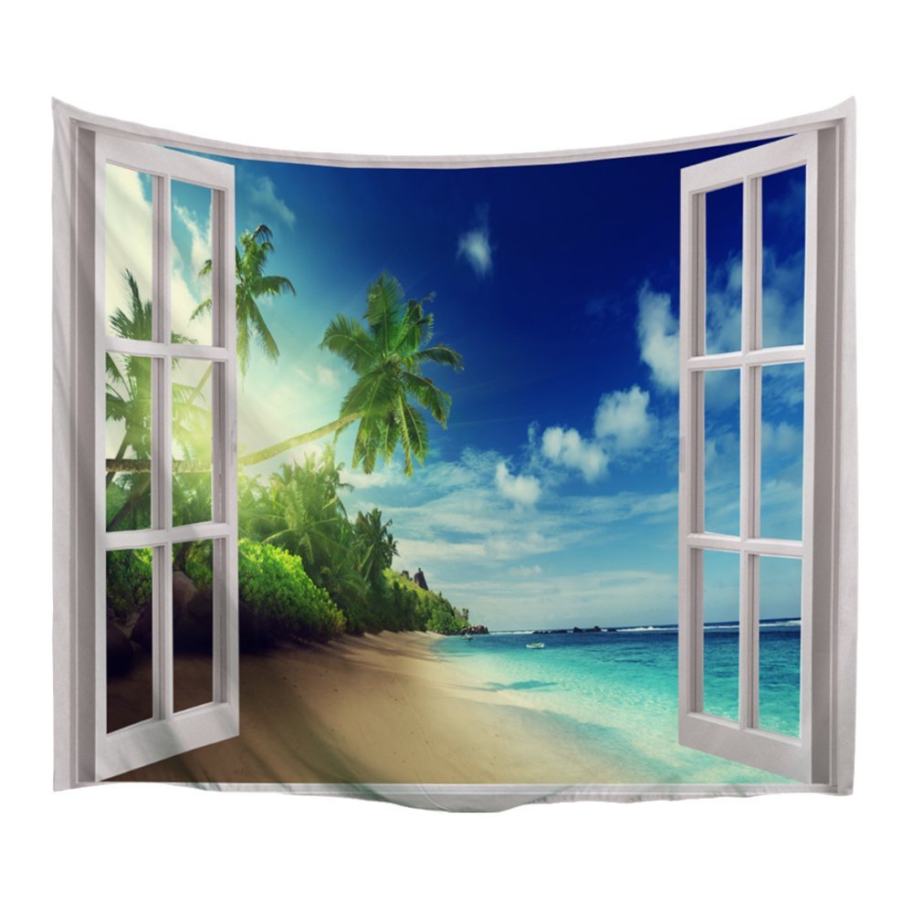 XINYI Home Wall Hanging Nature Art Polyester Fabric Coast Beach Theme Tapestry, Wall Decor For Dorm Room, Bedroom, Living Room, Nail Included - 60''W x 51''H (150cmx130cm) - The Beach Out Of The Window