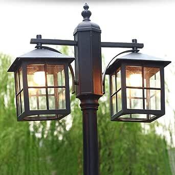 Farola negra 2 llamas E27 exterior aluminio y cristal pantalla mástil luminaria 225 cm de alto Impermeable IP44 césped claro jardín Villa país lámpara de pie forma iluminación: Amazon.es: Iluminación