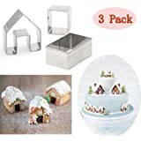 (Set of 3)Christmas House Cookie Cutter Set,Bake Your Own Small Gingerbread House Kit,Chocolate house, haunted house